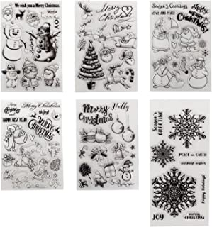 6 Sheets Different Christmas Theme Clear Stamps Scrapbooking Album Paper Cards Making Decoration(Christmas Theme)