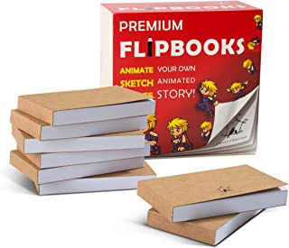 """8 Pack Blank FLIPBOOKS (Flip Books) for Kids & Adults, Premium, No Bleed Flip Book Kit; 180 Pages; 2.5"""" x 4.5"""". Opens Flat..."""