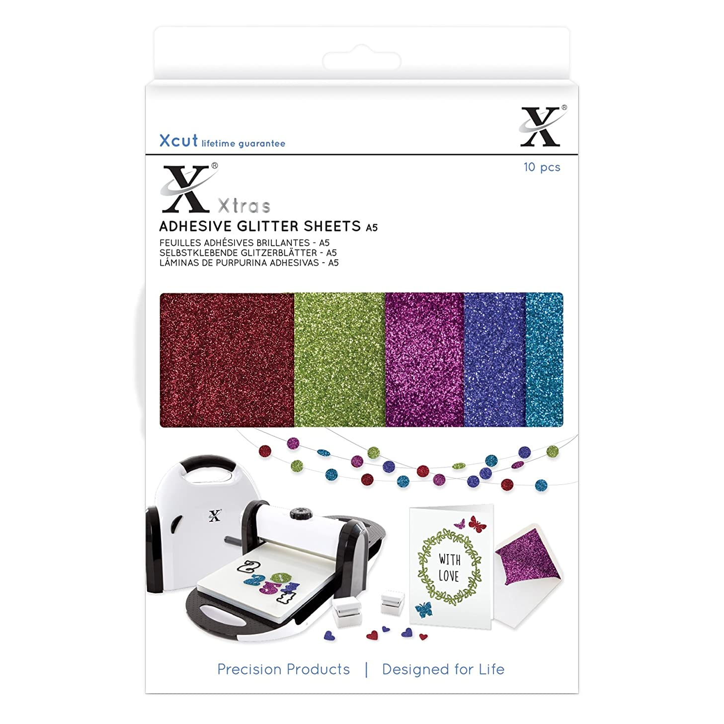 DOCrafts XCU174408 Xcut Xtra A5 Adhesive Darks Glitter Sheets (10 Pack), Multicolor