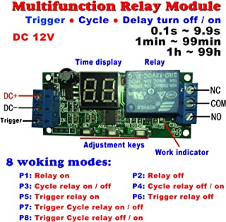 Qianson DC 5V 12V 24V Digital LED Display Infinite Cycle Delay Timer Switch ON/OFF Relay Module (DC 12V)