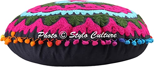 Stylo Culture Indian Outdoor Floor Cushion Traditional Embroidered Suzani Cover Black 18x18 Small Decorative Round Decor S...