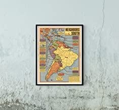 Map|Our Neighbors to The South South America, Sunday News, May 21, 1944. 1944|Vintage Fine Art Reproduction|Size: 18x24|Ready to Frame