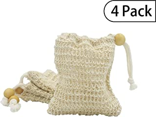 Bleu Bath (4 Pack) Exfoliating Loofah Pouch Sisal Ramie Soap Saver Bag with Drawstring and Wooden Bead Holder