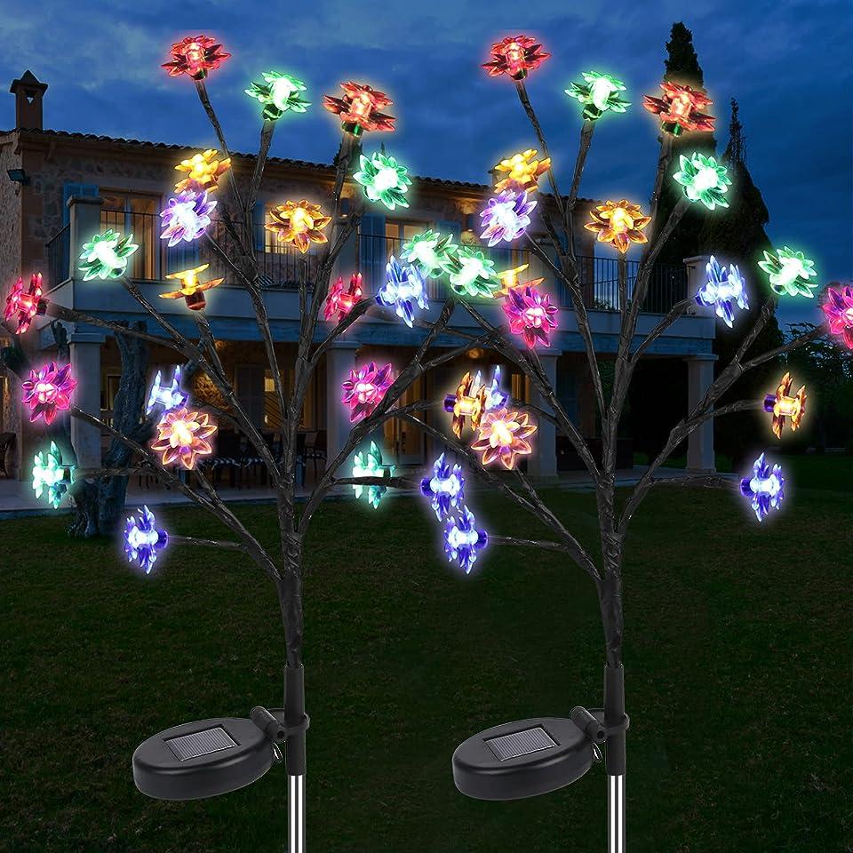 2 Stück Solarleuchte für Außen, Vegena Solarleuchte Garten, Solar Garten Lampen Solarlicht Blumen Außen Wasserdicht Solar Beleuchtung für Garten, Weg,Terrasse, Backyard, Party Weihnachten