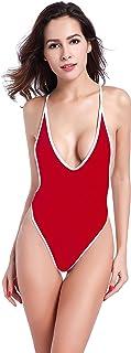 SHEKINI Women's One Piece Swimsuit V Neck High Cut Pleated Bottom Bikini Monokini One Piece Backless Thong Brazilian Swimw...