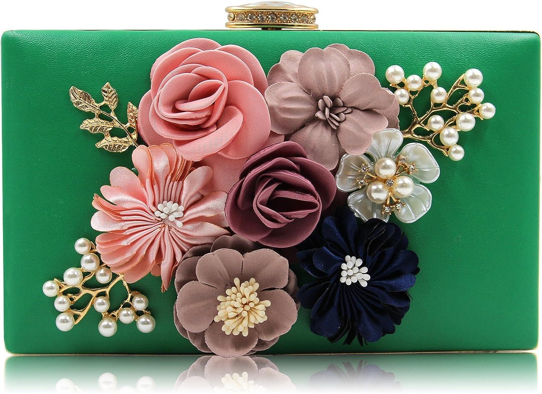 Flada Girl's Beading Evening Clutch Purse Bags for Women Flower Wedding Bags Green