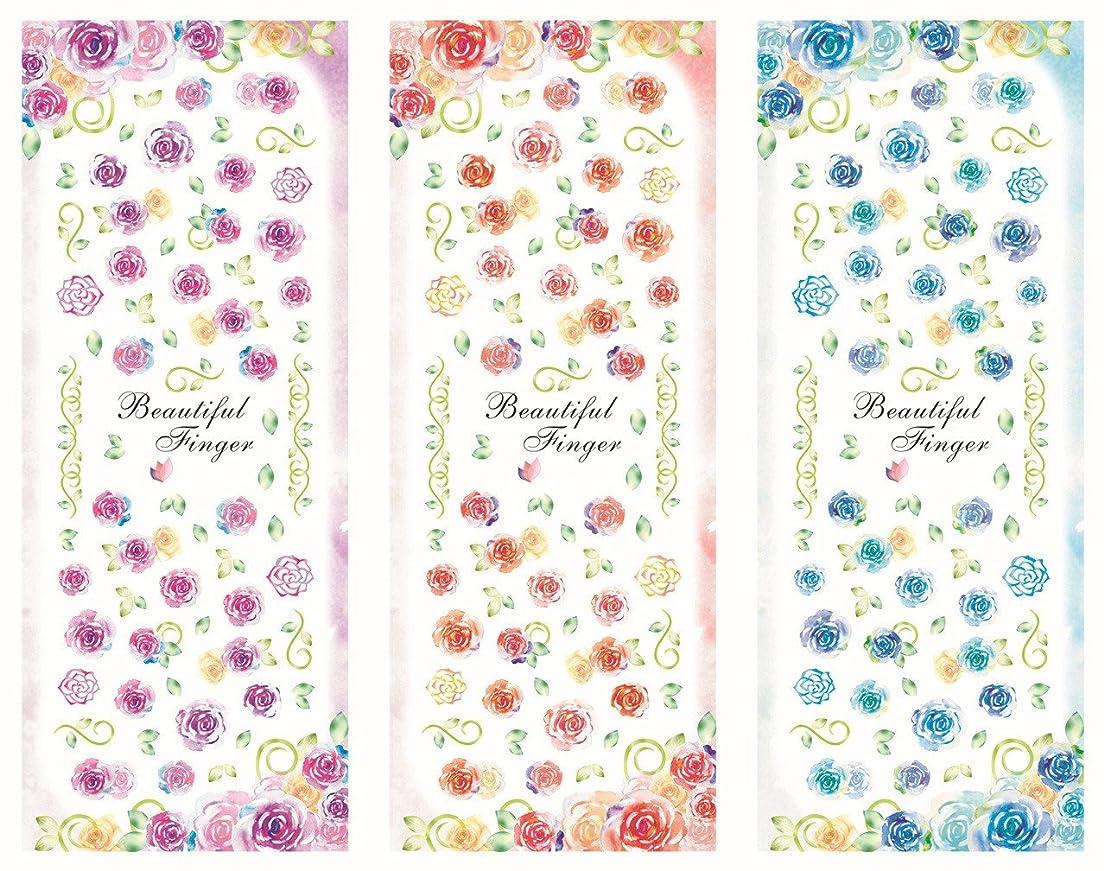 累積たくさんのレベル3パターン/セット 水彩花 フラワー ローズ 薔薇 春夏 ウオーターシール ネイルステッカー ネイルシール ネイルアート ネイルデコ ネイルジュエリー ネイルキット