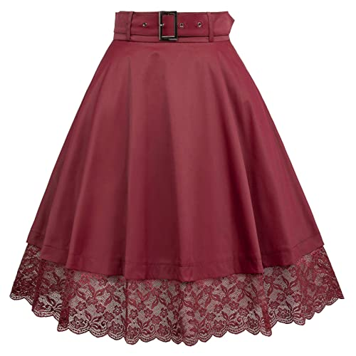 82a7c92a0 Belle Poque Vintage Retro High Waist Lace Flared Skirt with Belt