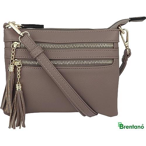 139f4a856c0 Vegan Mini Multi-Zipper Crossbody Handbag Purse with Tassel Accents