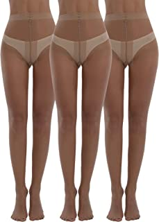 Women's Plus Size Tights 3packs 20 Denier Sheer to Waist T Crotch Run Risistance Nylons