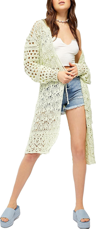 Free People Sweet Talker Long Crochet Cardigan Honeydew XS