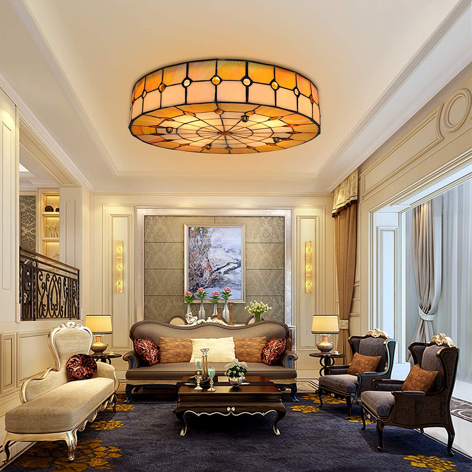 Tiffany Ceiling Topics on Direct sale of manufacturer TV lamp Yellow Square to The Close Round Li
