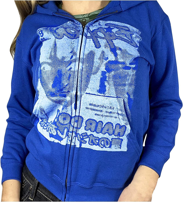 Women Zip Up Oversized Hoodie Trendy Y2k E-Girl Drawstring Long Sleeve Loose Sweatshirt Streetwear Jacket with Pockets