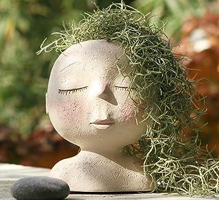 AIMEBBY Face Flower Pot Head Planter Pot Succulent Planter Cute Resin Cactus Planter with Drainage Hole