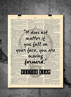 Victor Kiam - Quote : It does not matter if you fall on your face, you are moving forward - Inspirational Wall Art Vintage Art Print - Home or Office Decor - No Frame