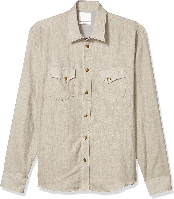 Billy Reid Men's Standard Fit Brass Snap Front Work Shirt