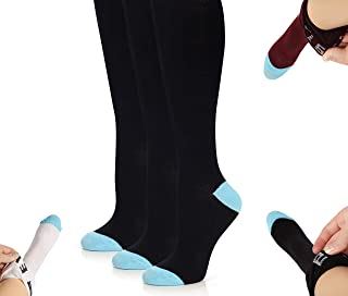 Women Knee High Cotton Socks - Soft Casual Fashion Solid Dress Stockings - Winter Opaque Boot Socks - 3 & 6 Pack - by Topfit