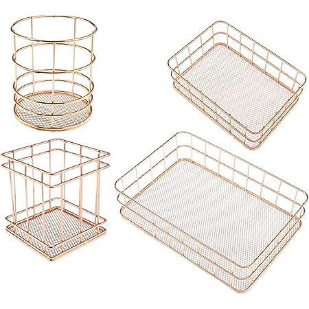 Cuivre Or Rose métal stockage panier métallique plateau Multi usage Dîner Décoration Bureau