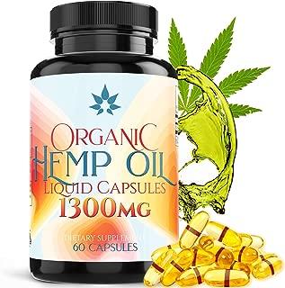 Hemp Oil Capsules 1300mg - Organic Hemp Capsules Targets Muscle Aches & Soreness- 60 Pure Hemp Oil SoftGels