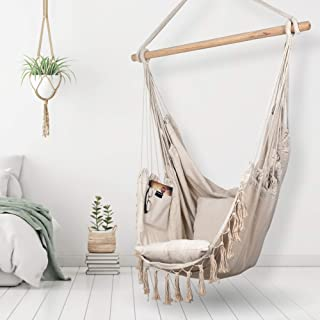 Hammock Chair | Hanging Rope Swing Seat for Indoor & Outdoor | Soft & Durable Cotton Canvas | 2 Cushions Included | Large Reading Chair with Pocket for Bedroom, Patio, Porch (Ivory)