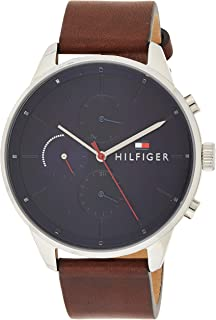 Tommy Hilfiger 1791487 Mens Quartz Watch, Analog Display and Leather Strap, Blue