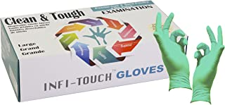 Infi-Touch Residue Free Green Nitrile Gloves, Clean & Tough 5 Mill Thickness, Disposable Gloves, Powder Free, Non Sterile, Examination, Finger Tip Textured, Dispenser Pack of 100, Size. Large.