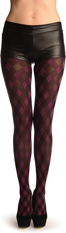 Purple & Black Woven Gingham - Pantyhose (Tights)