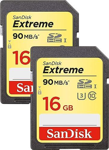 Pack de 2 Cartes Mémoire SanDisk Extreme 16Go SDHC jusqu'à 90Mo/s, Classe 10, U3