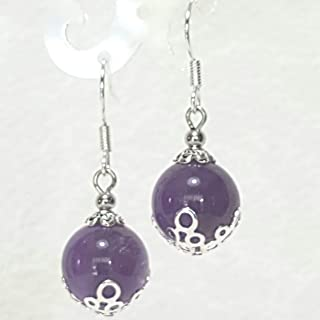 Simple Purple Amethyst Drop Earring