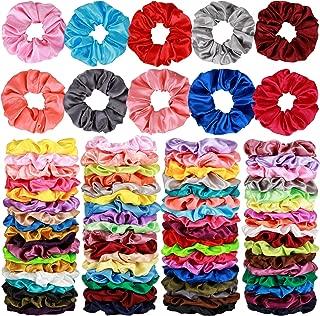 80 Pcs Silk Satin Hair Scrunchies 40 color Hair Bobbles Ponytail Holder Hair Accessories Scrunchy Solid Color Hair Ties