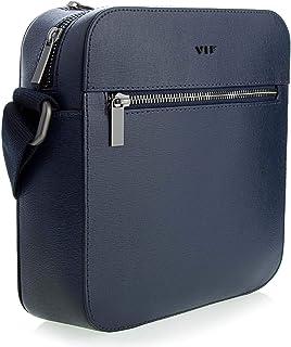Bolso bandolera de piel para hombre, tamaño mediano, de piel, para negocios, casual, diario, VIF (KAURI MINI BLUE LOCK) azul.