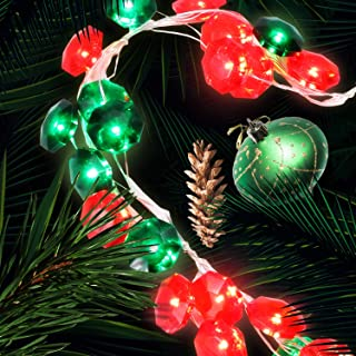 Red & Green Christmas Lights, Lauva 10ft 40LED Diamond Decorative Twinkle Fairy Lights Multicolor Battery Operated with Remote Timer for Christmas Tree Home Garden Bedroom Wedding Birthday Party