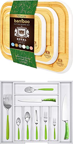 high quality Rounded Cutting online sale Board Set of 3 (White) 2021 and Silverware Drawer Organizer (White) outlet online sale