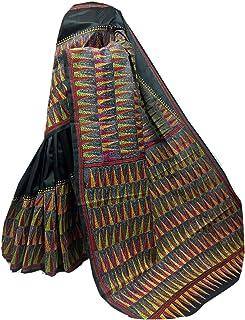 بلوزة ساري نسائية بنغال هندي أسود من الحرير Bnaglori لحفلات الزفاف الساري بالكامل بتصميم يدوي الكناثا 911a