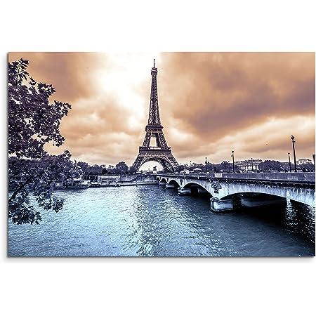 Leinwand 3 tlg Paris Eiffelturm schwarz weiß Skyline Stadt Bild Wandbild 9A341