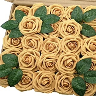 J-Rijzen Jing-Rise Artificial Roses 50pcs Real Looking Mustard Yellow Fake Roses for Bride Wedding Bouquet Baby Shower Flowers Centerpieces Party Home Decorations(Mustard Yellow)