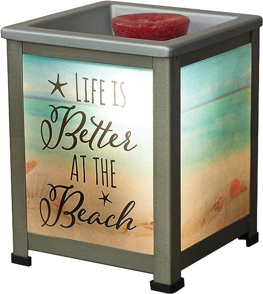 Elanze Designs Life Better At Beach Seashore Silvertone Metal Electrical Wax Tart Oil Glass Lantern Warmer