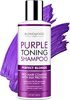 Purple Shampoo for Blonde Hair – Made in USA - Removes Brassiness, Yellow & Overtones – Gentle Toning & Hair Care – Blonde Shampoo with Platinum, Ash & Overtone Purple Effects – Cruelty-Free - 8 oz