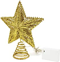 CVHOMEDECO. Gold Glittered 3D Tree Top Star with Warm White LED Lights and Timer for Christmas Tree Decoration and Holiday...