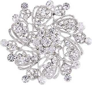 EVER FAITH Women's Austrian Crystal Elegant Flower Bridal Corsage Brooch Pin Clear Silver-Tone