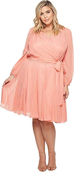 Plus Size Split-Sleeve Wrap Swiss Dot Dress