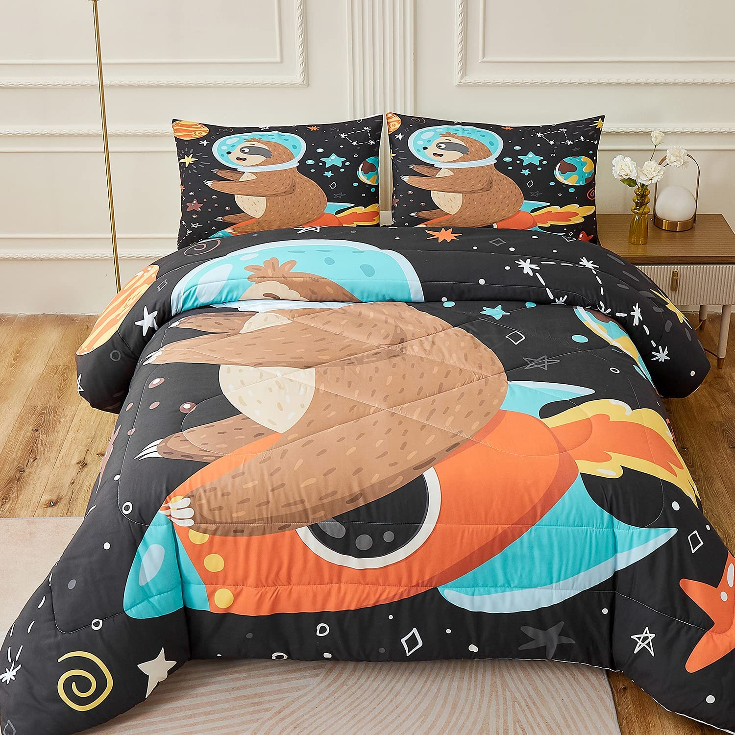 Namoxpa Sloth Comforter Sets Smiling Astronaut 2021 new Cute Very popular Sits o