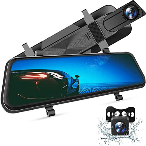 "VanTop H610 10"" 2.5K Mirror Dash Cam for Cars with Full Touch Screen, Waterproof Backup Camera Rear View Mirror Camer..."