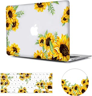 MacBook Air 13 inch Case Floral, Arike Sunflower Matte See Through Clear Hard Case with Keyboard Cover & Mouse Pad Compatible for MacBook Air 13