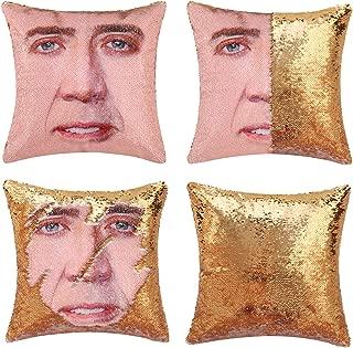 Merrycolor Mermaid Pillow Cover, Nicolas Cage Pillow Case Magic Reversible Sequin Pillow Cover Decorative Throw Cushion Case (Gold)
