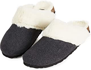 Dunlop Ladies Slippers, Comfy Memory Foam Womens Slippers, Faux Fur Indoor Outdoor House Shoes, Super Soft Fluffy Slipper...