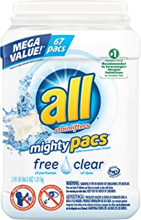 all Mighty Pacs Laundry Detergent, Free Clear for Sensitive Skin, Unscented, Tub, 67 Count