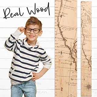 Growth Chart Art | Wooden Map Growth Chart for Kids [Boys & Girls] | Children's Room Décor Height Chart | West Coast to 6'6