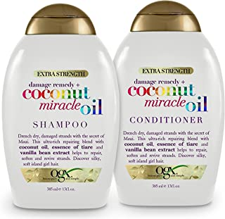 OGX Extra Strength Damage Remedy + Coconut Miracle Oil Shampoo And Conditioners ,13 Ounce ea.