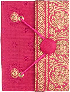 Sari Journal Mini 8cm x 10.5cm - Cerise - Unlined Recycled Paper - Elastic Closure - Pocket Notebook and Diary - Indian Stationery Gift - for Men Women Students - Sari Fabric
